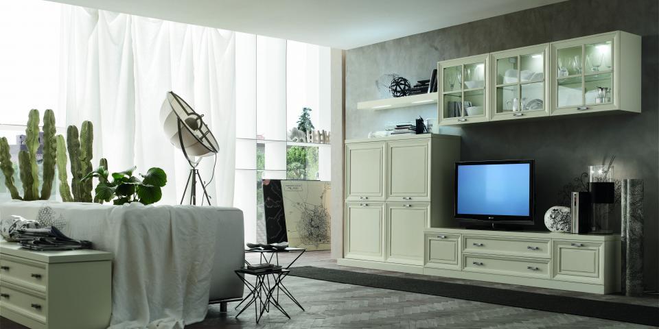 Soggiorno classico modello Murano finitura laccato bianco natural wood